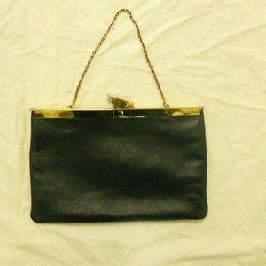 Etra Leather Clutch Hinge Handbag Navy Vintage